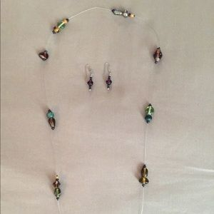 Wire Bead Necklace and wired Beaded Earrings